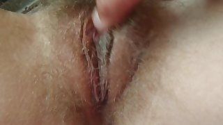 Upclose clit orgasm playing with hairy pussy